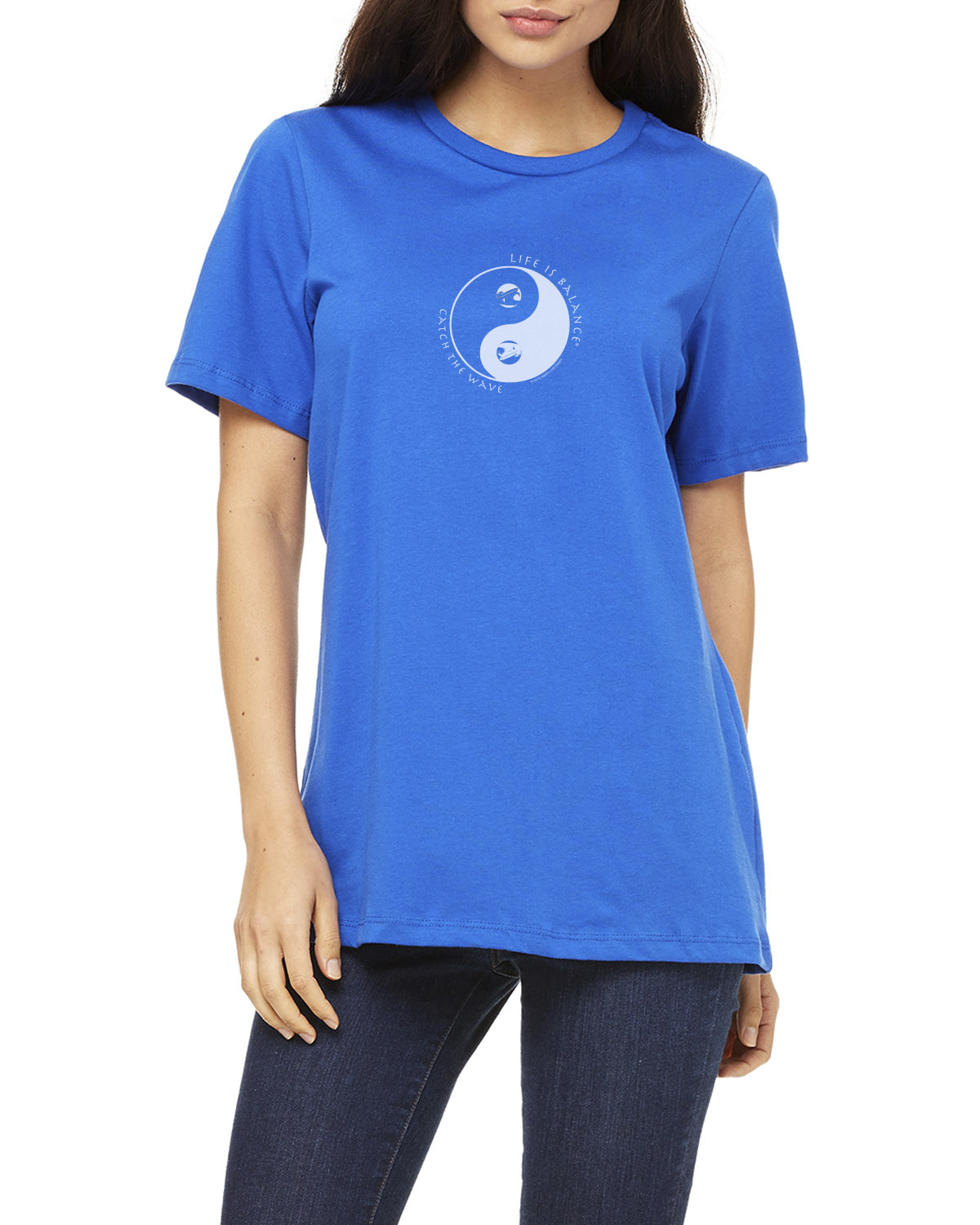 Women's short sleeve surfing t-shirt (royal)