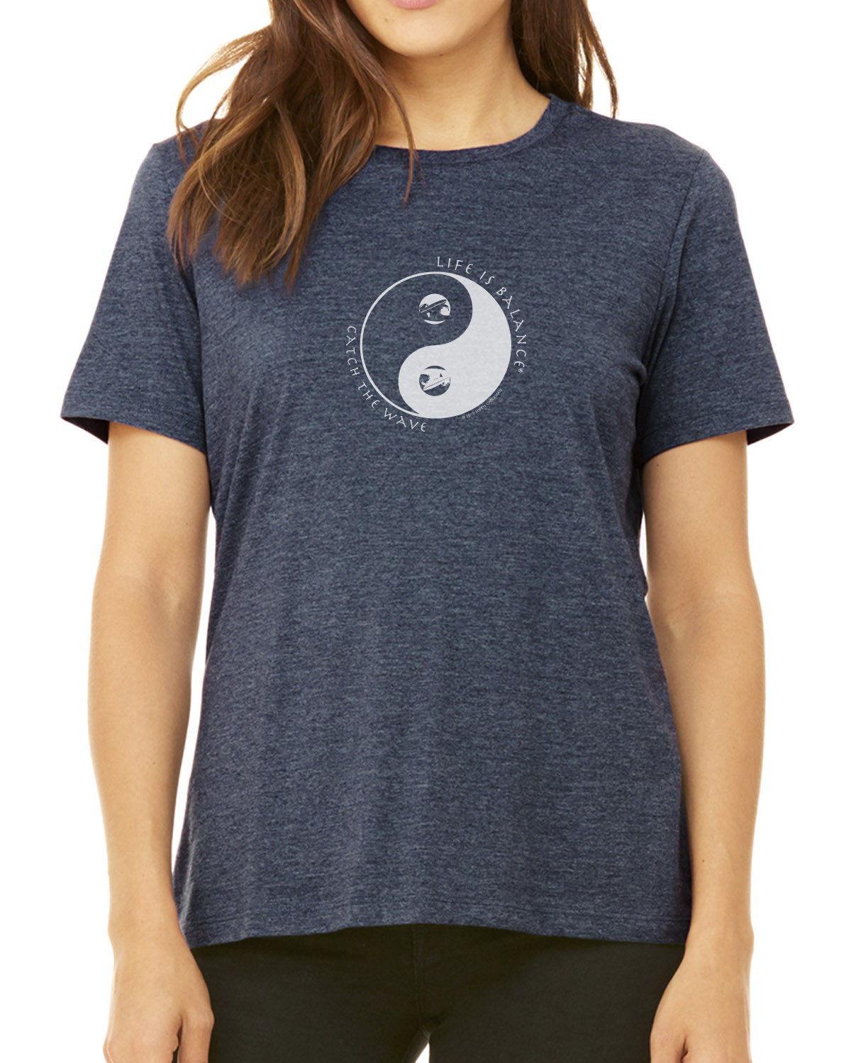 Women's short sleeve surfing t-shirt (heather navy)