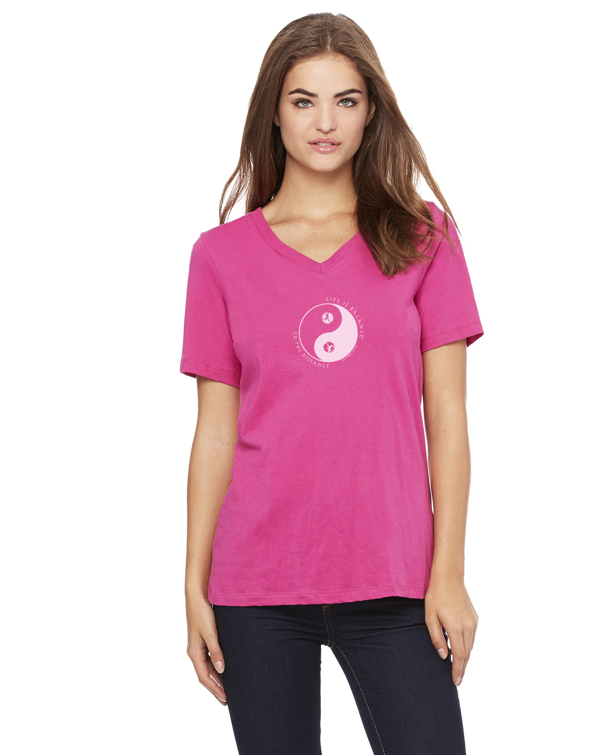 Women's short sleeve v-neck (berry)