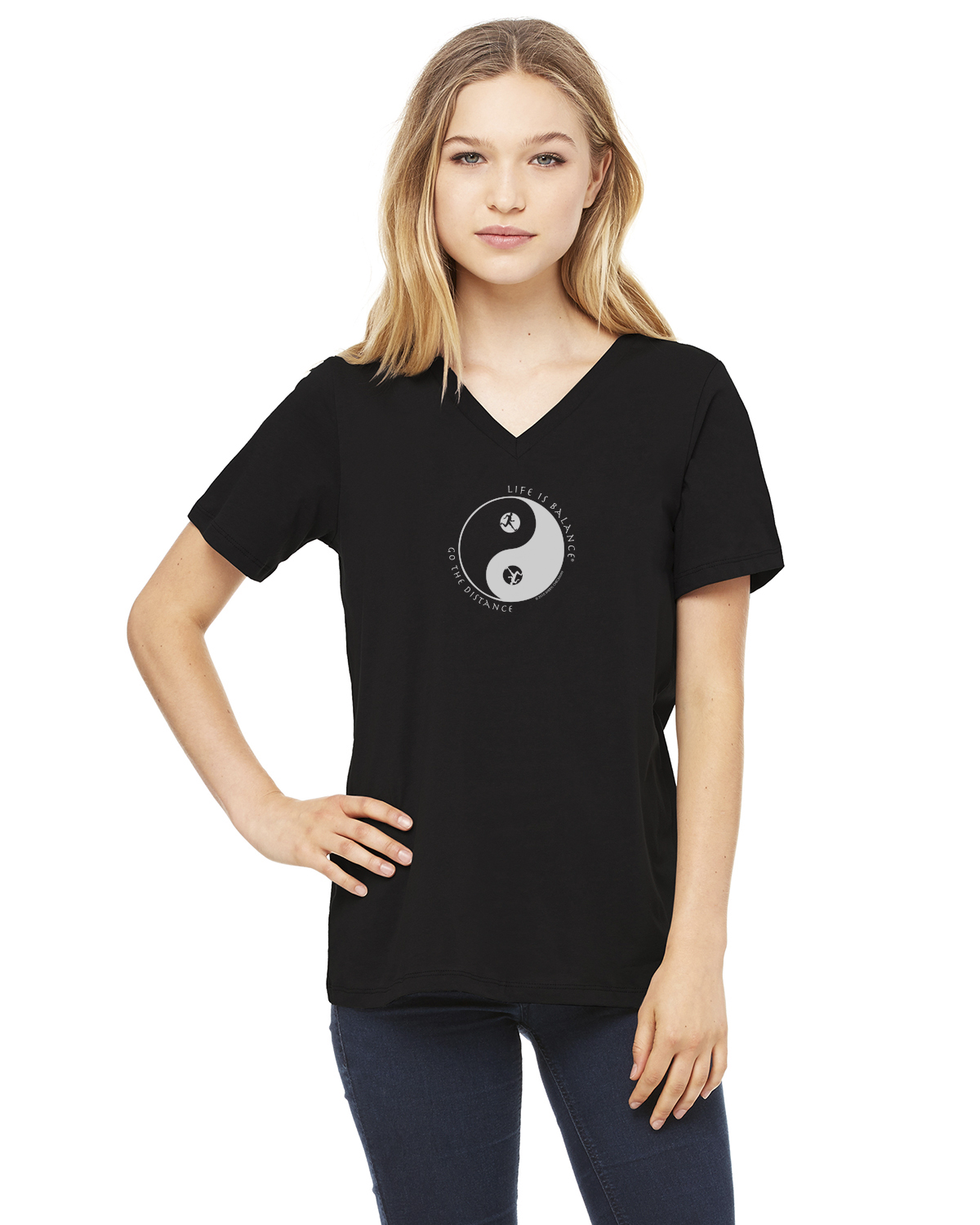Women's short sleeve v-neck (black)