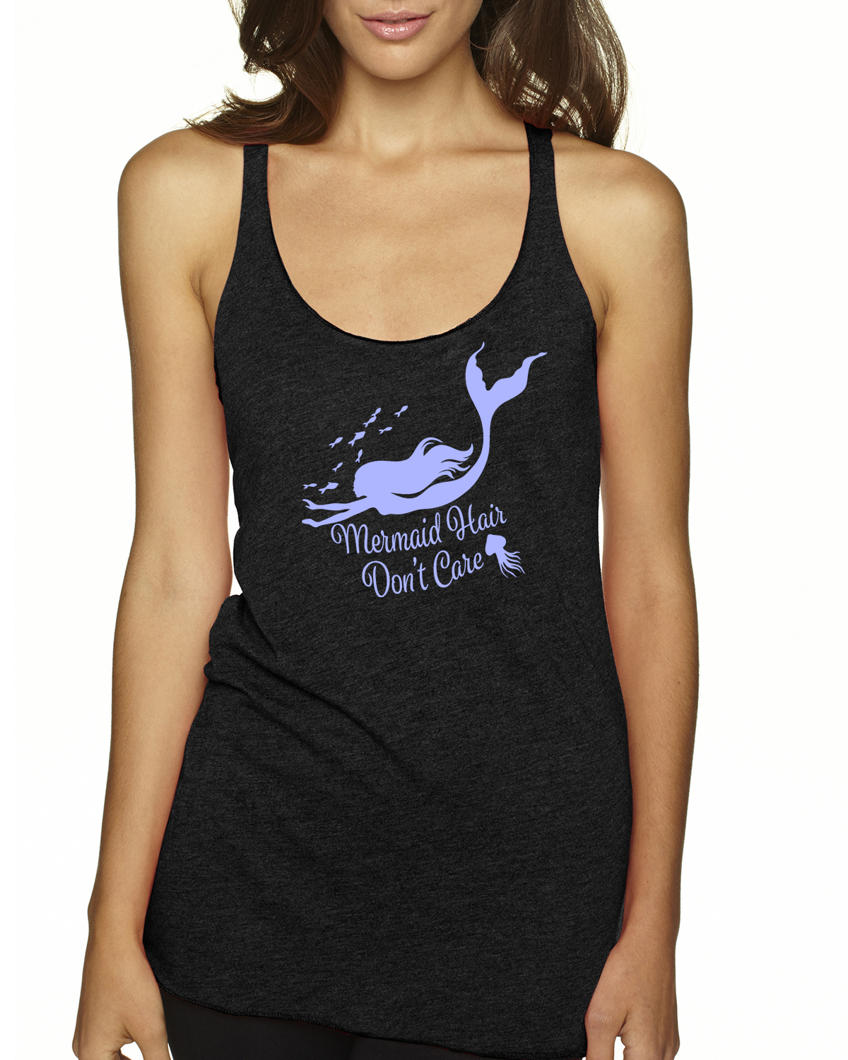 Mermaid Hair, Don't Care Racer-back tank top (Black)