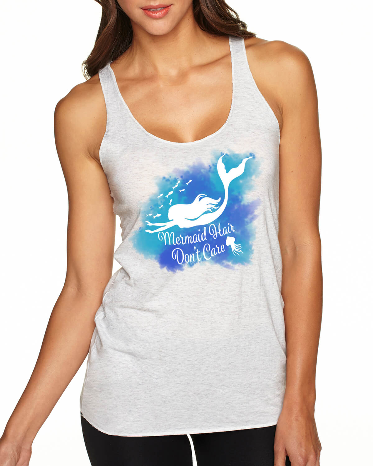 Mermaid Hair, Don't Care Racer-back tank top (heather white)