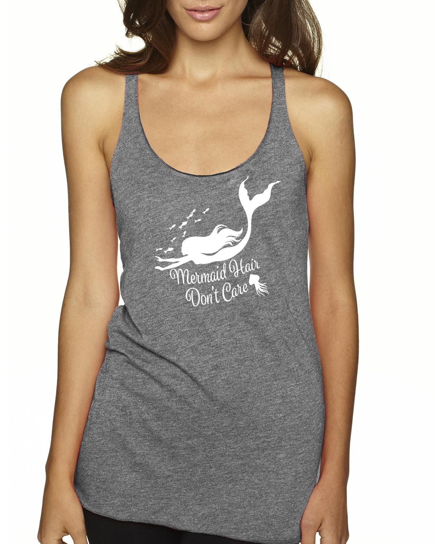 Mermaid Hair, Don't Care Racer-back tank top (Gray)