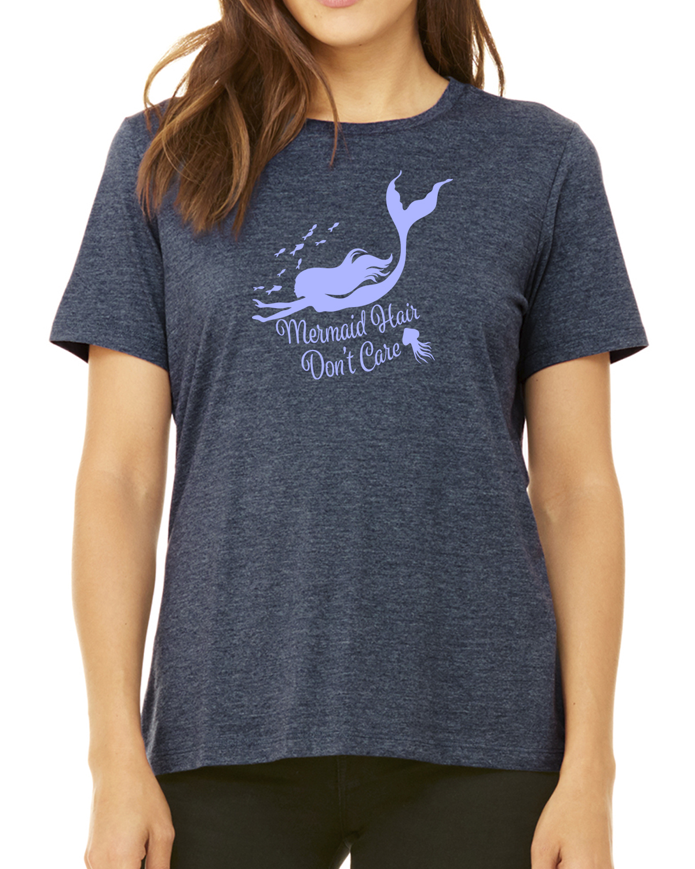Mermaid Hair, Don't Care Women's short sleeve t-shirt (Heather Navy)