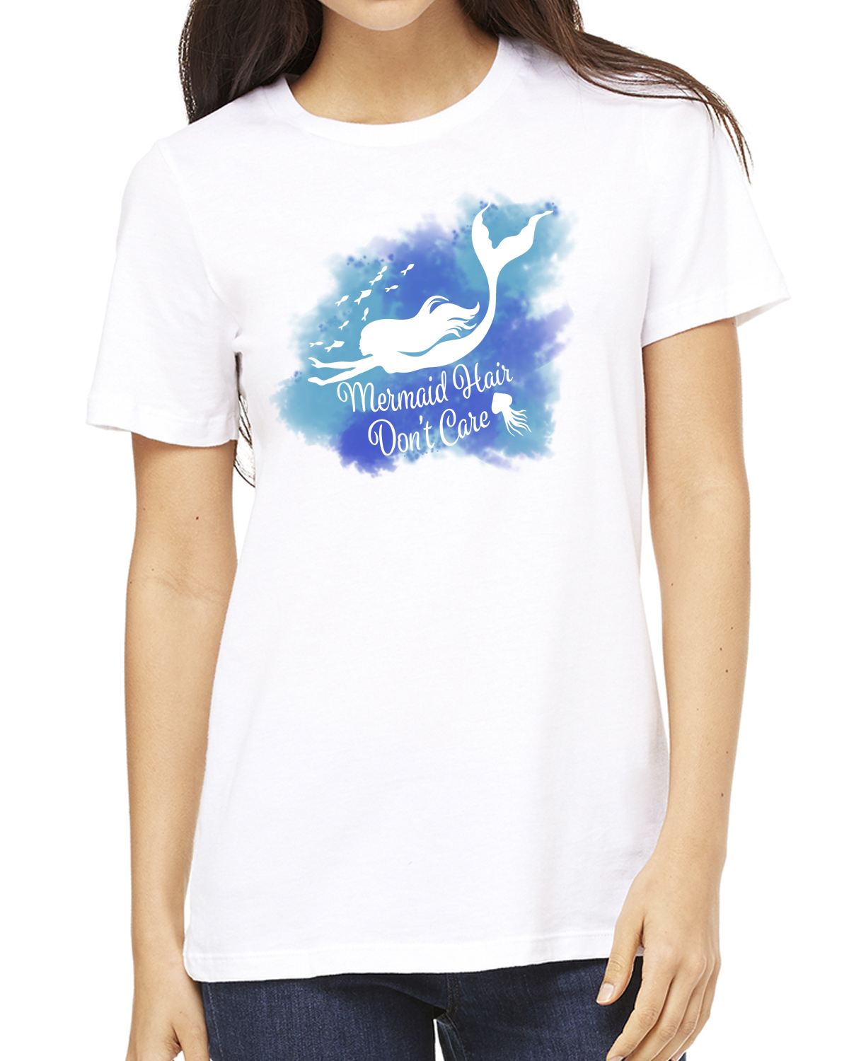 Mermaid Hair, Don't Care Women's short sleeve t-shirt (White)