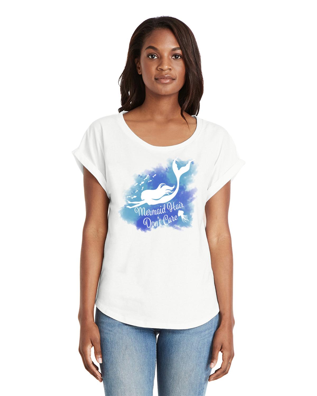 Don't Care Women's Dolman Sleeve sleeve t-shirt (White)