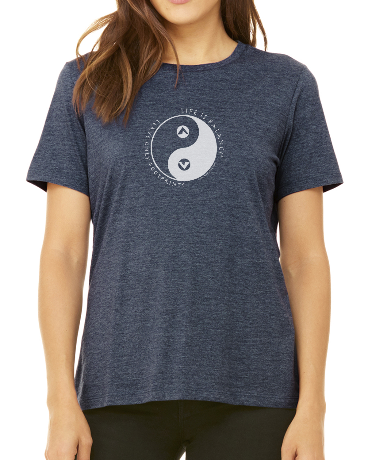 Women's short-sleeve camping t-shirt (Heather Navy)