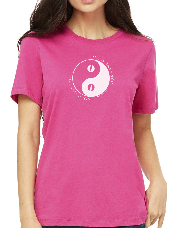 Short sleeve women's crew neck t-shirt (berry)