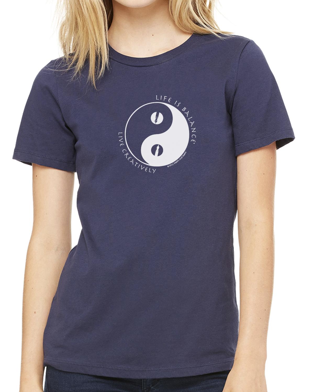 Short sleeve women's crew neck t-shirt (navy)