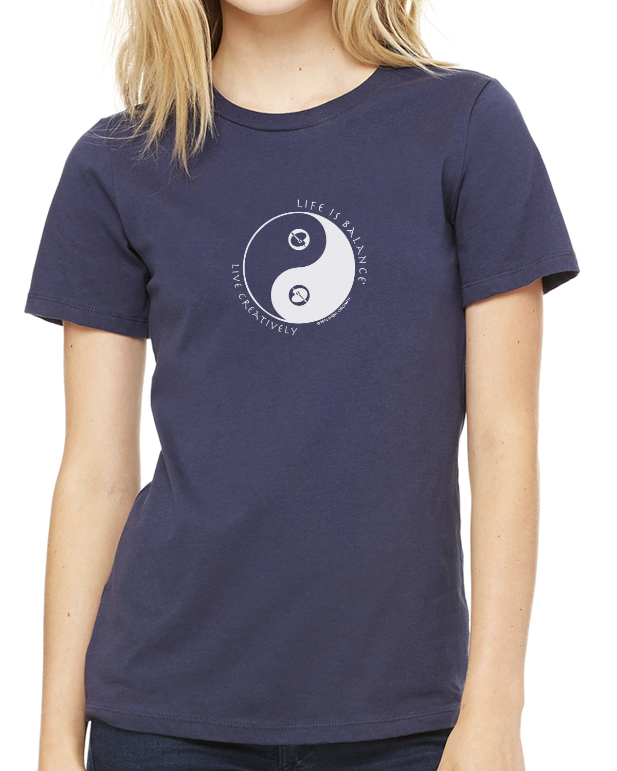 Women's short sleeve artist t-shirt (navy)