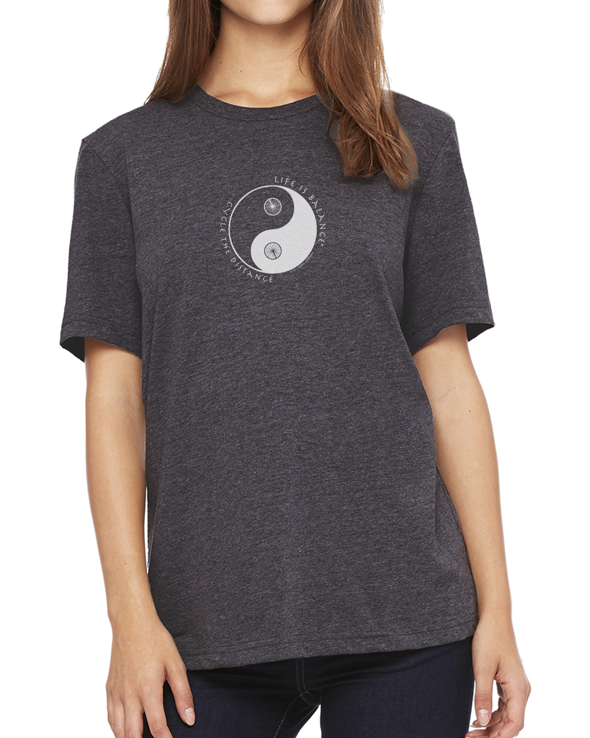 Women's short sleeve biking or cycling t-shirt (Dark gray heather)