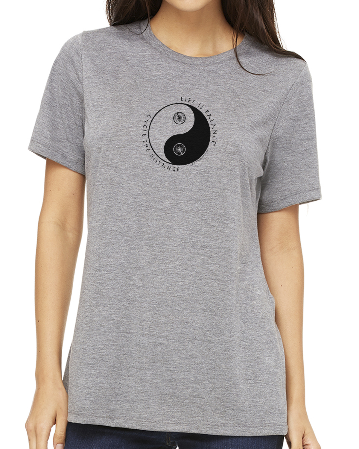 Women's short sleeve biking or cycling t-shirt (heather gray)