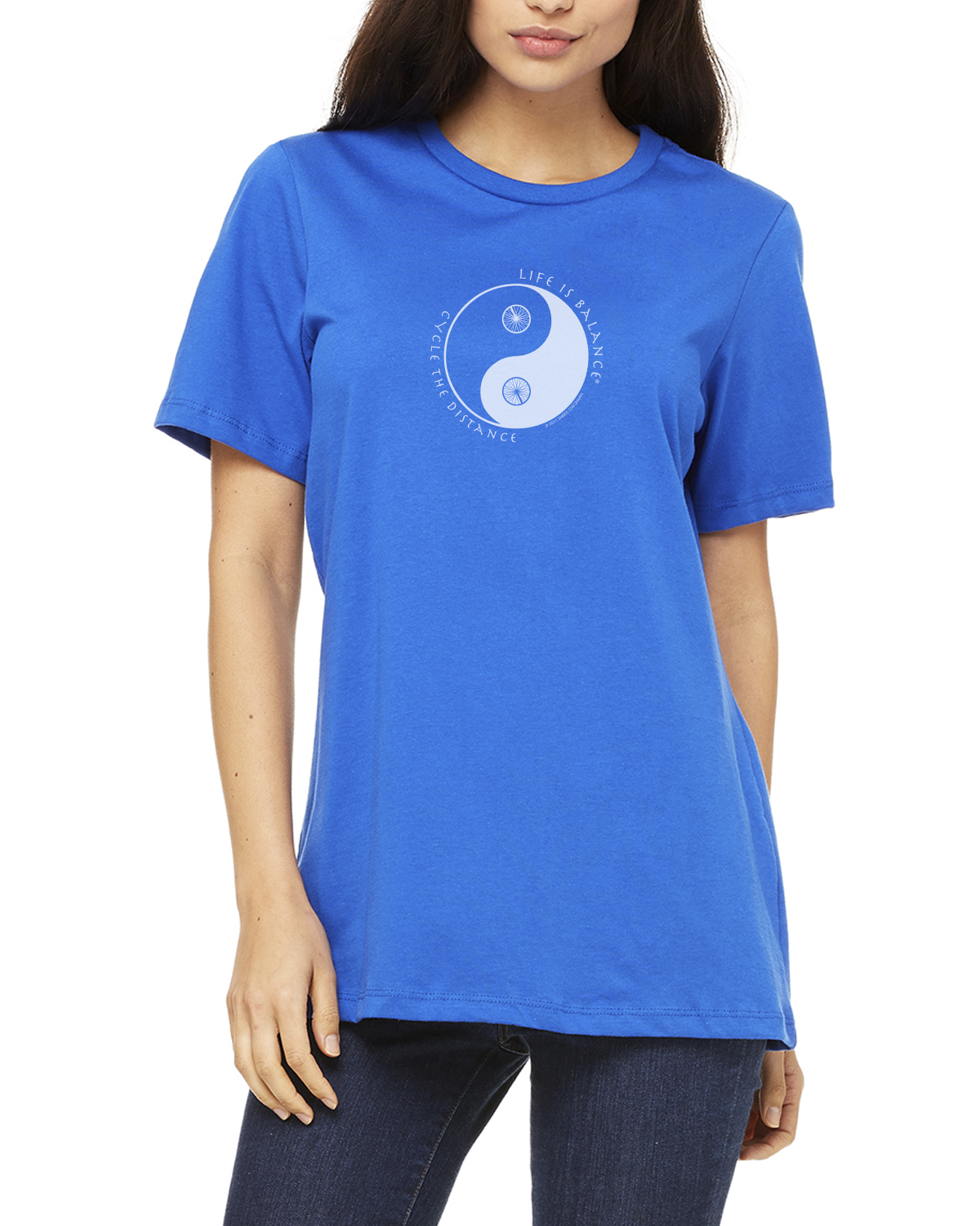 Women's short sleeve biking or cycling t-shirt (royal)