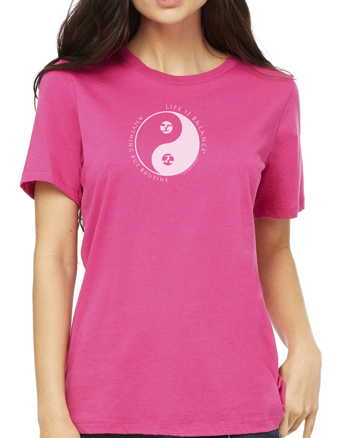 Women's short sleeve gymnastics t-shirt (berry)