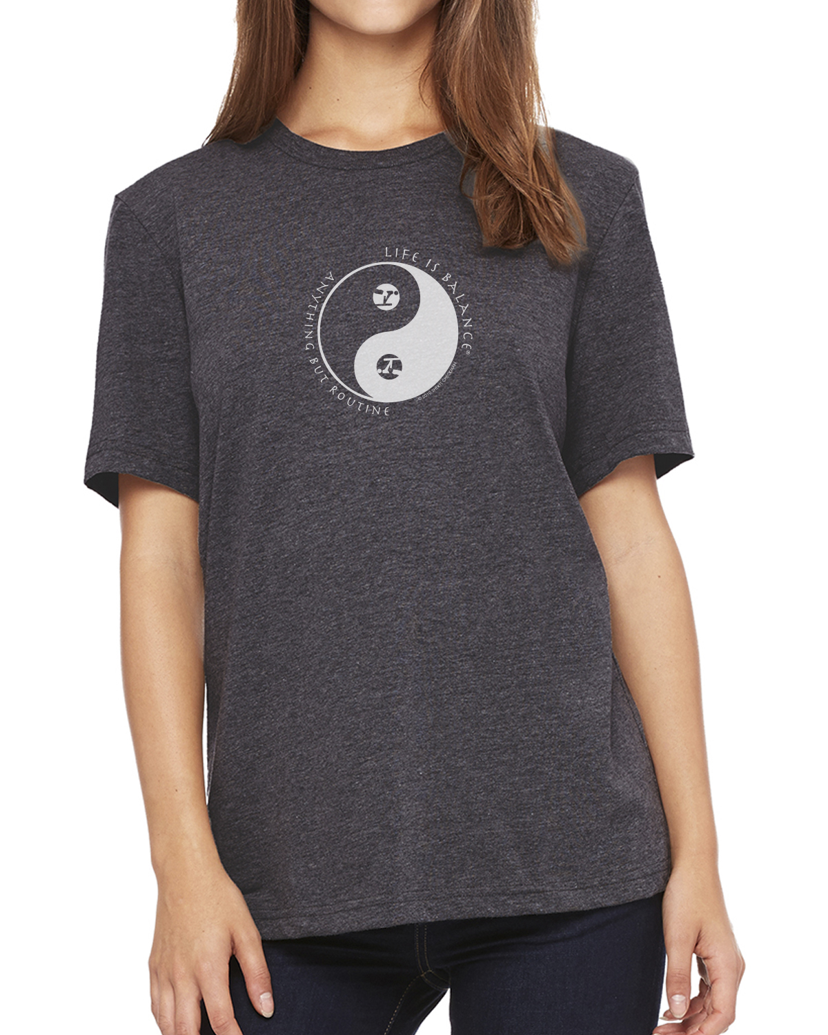 Women's short sleeve gymnastics t-shirt (dark gray heather)