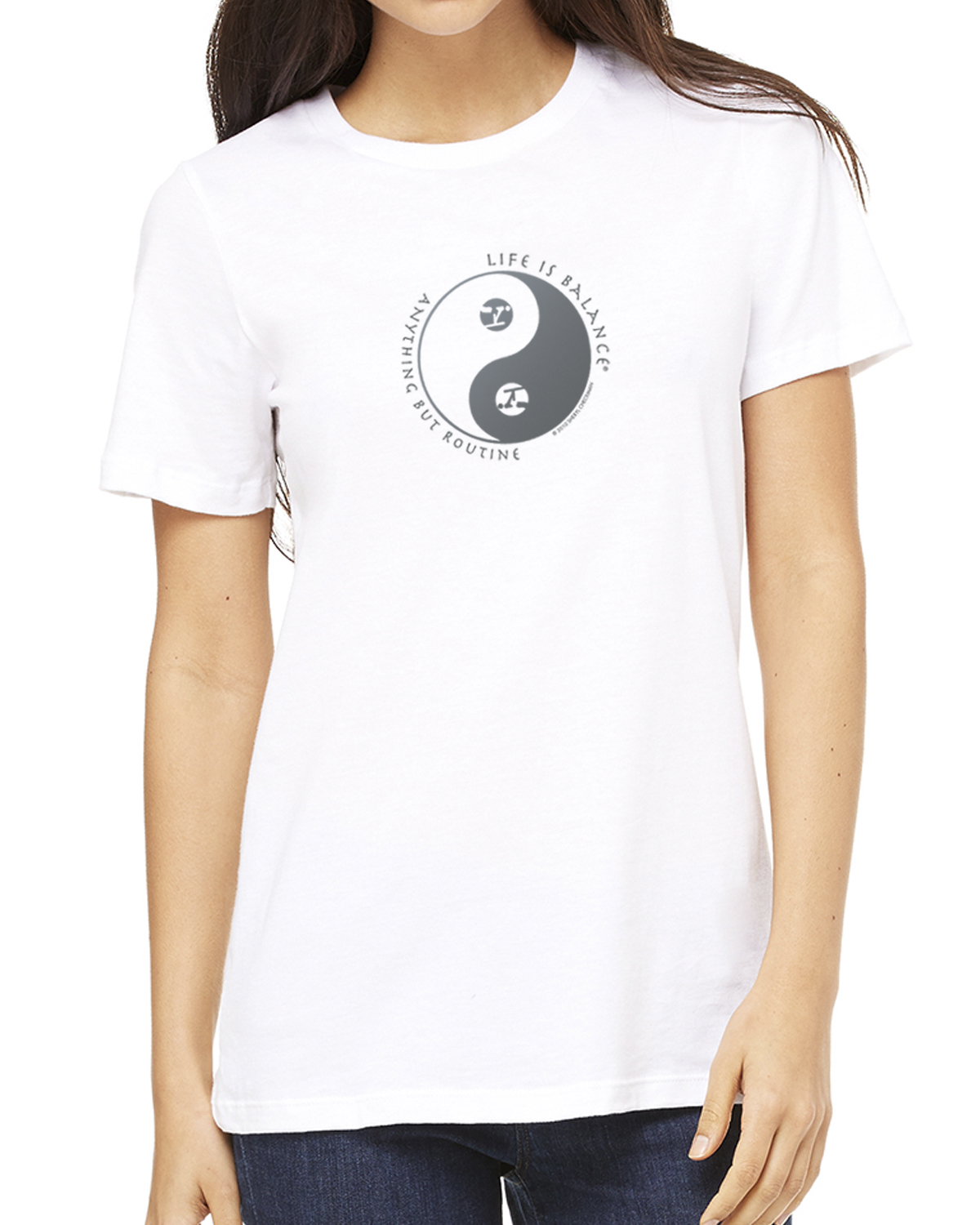 Women's short sleeve gymnastics t-shirt (white)