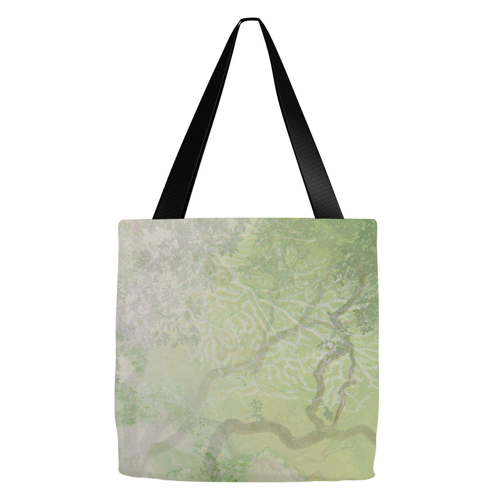 Coral Branches Green Tote Bag