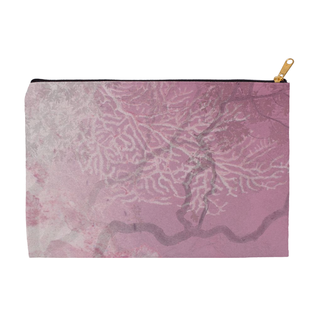 Coral Branches Rose Accessory Pouch
