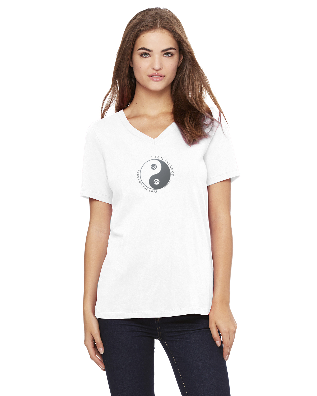 Pilates v-neck T-Shirt for Women (White)