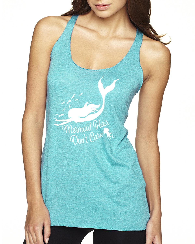 Mermaid Hair, Don't Care Racer-back tank top (Tahiti Blue)