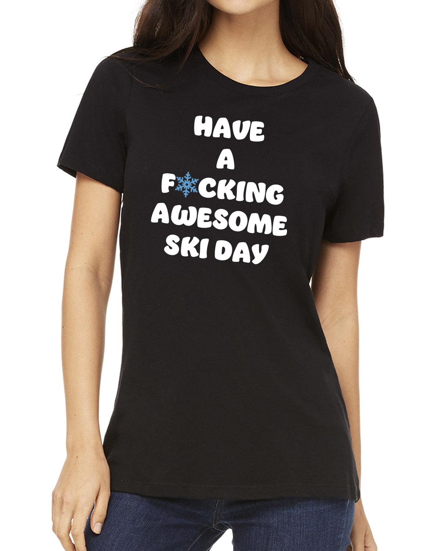 Women's short sleeve Awesome Ski Day crew neck (black)