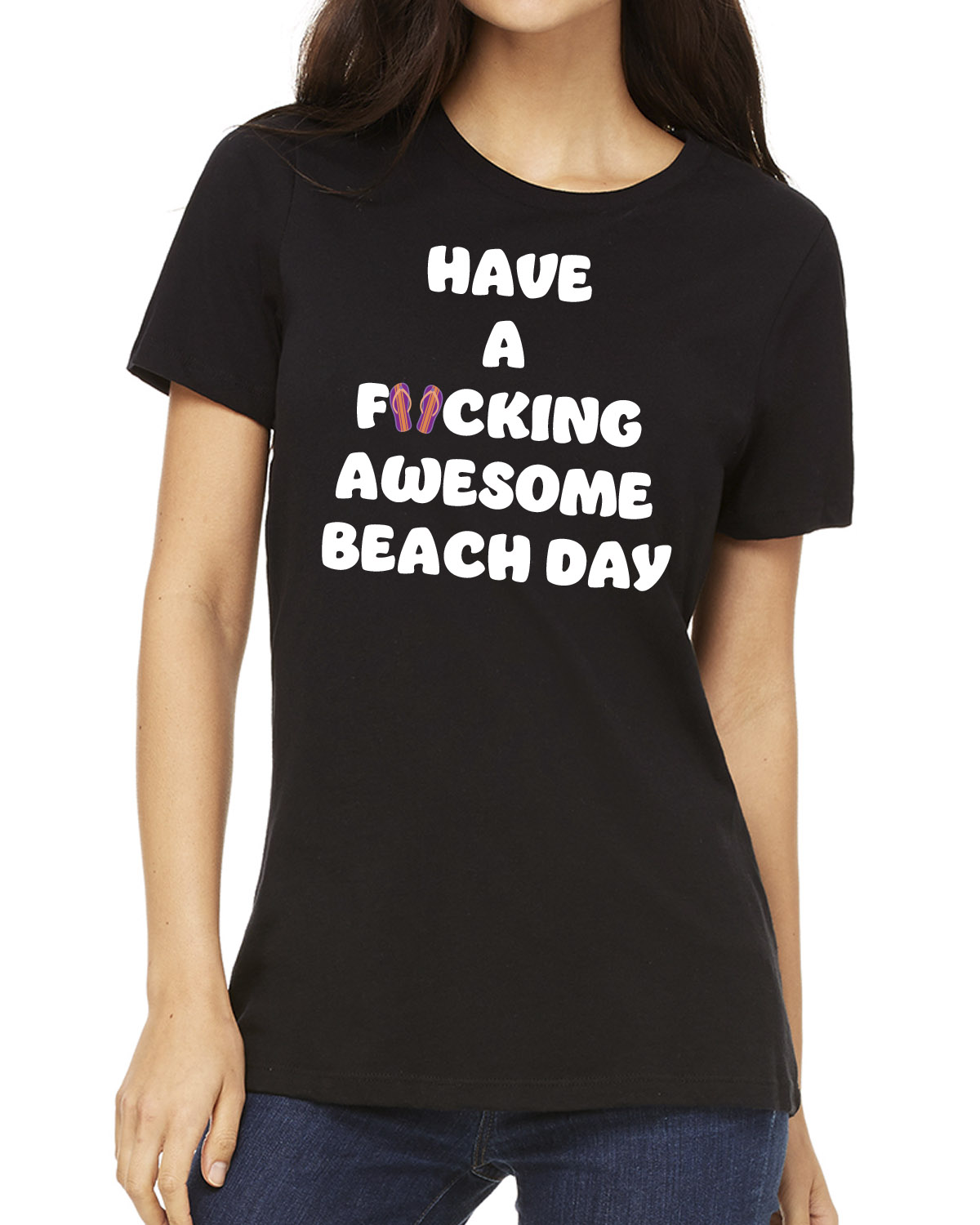 Women's Have a F*cking Awesome Beach Day t-shirt (black)
