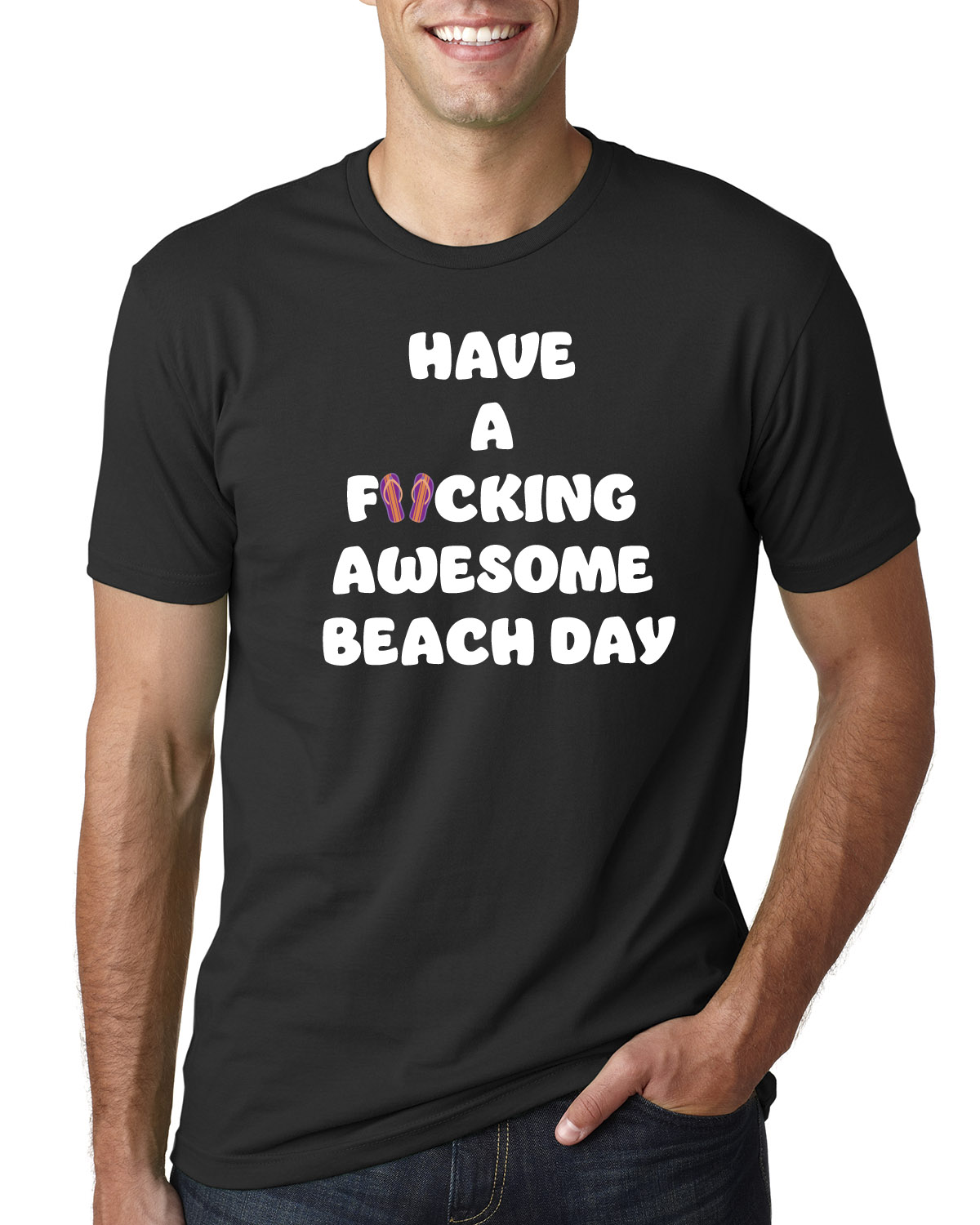 Men's Have a F*cking Awesome Beach Day t-shirt (black)
