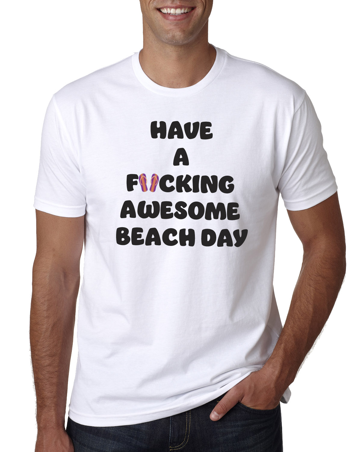 Men's Have a F*cking Awesome Beach Day t-shirt (white)