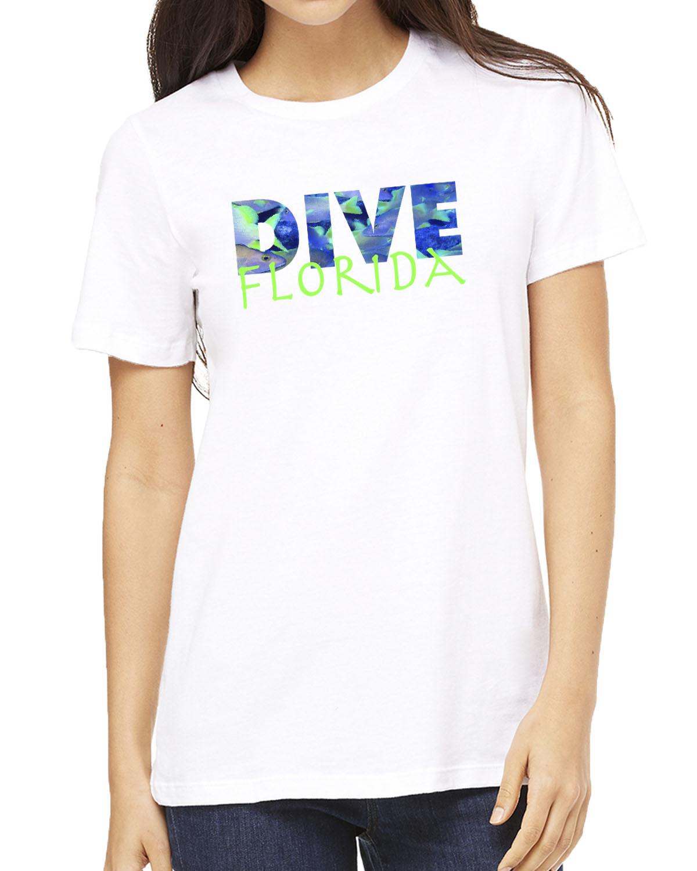 Women's short sleeve Dive Florida crew neck (white)