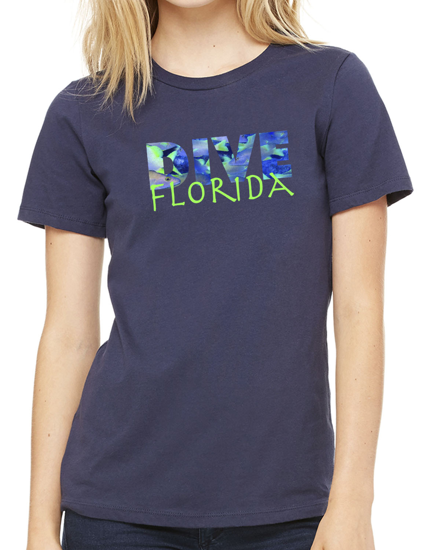 Women's short sleeve Dive Florida crew neck (navy)