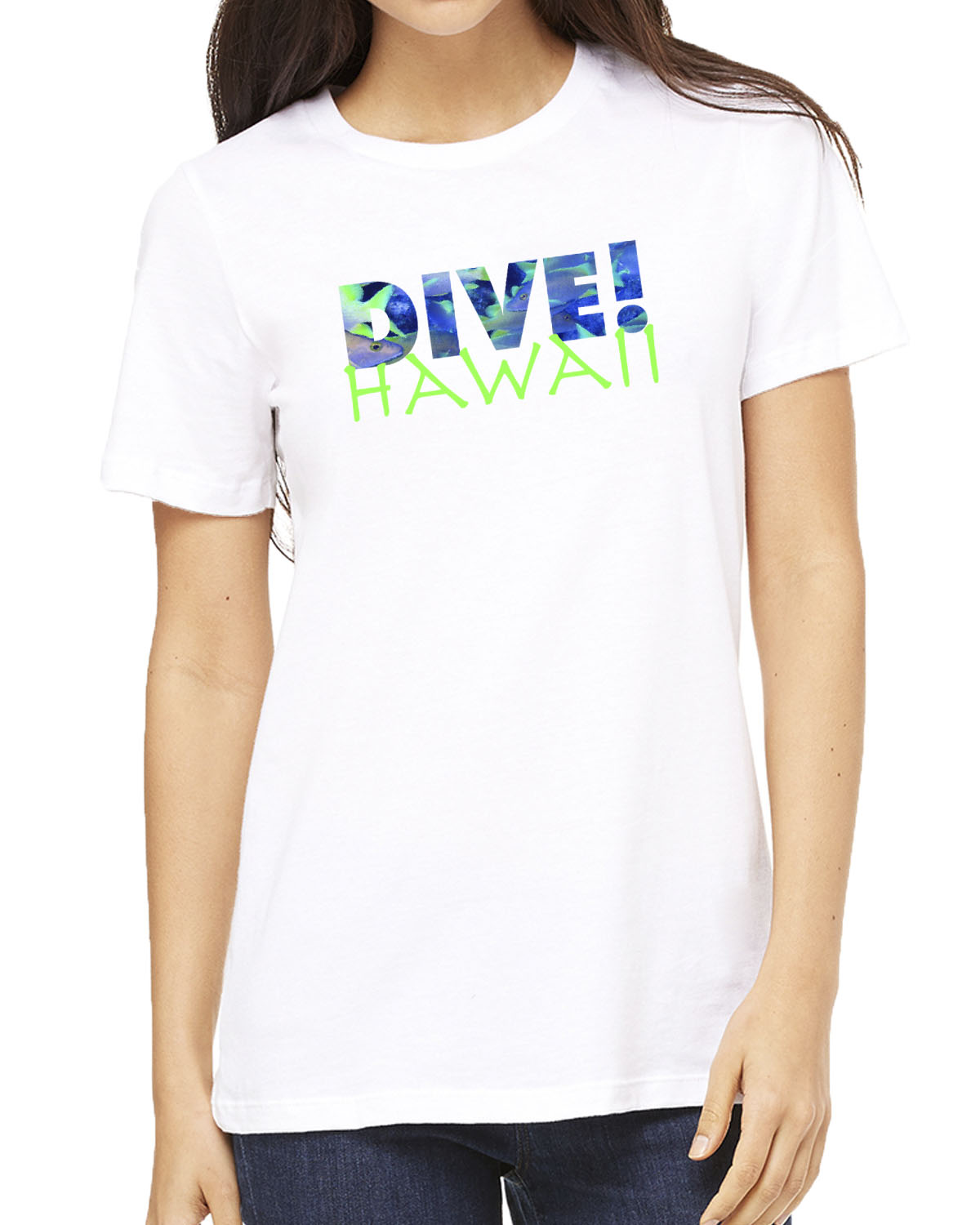 Women's short sleeve Dive Hawaii crew neck (white)