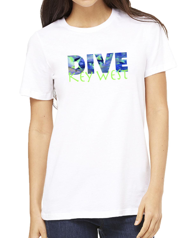 Women's short sleeve DIVE Key West crew neck (white)