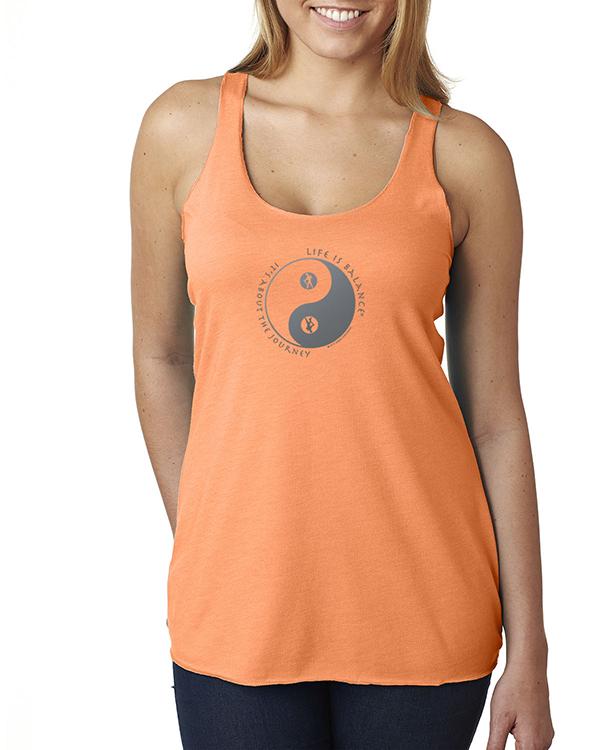 Women's Tri-Blend racer-back hiking or walking tank top (Orange)