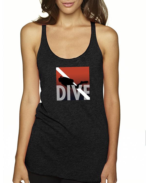 Women's Tri-blend racer-back DIVE scuba diving tank top (Vintage Black)