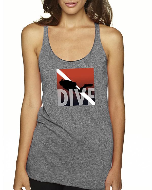 Women's Tri-blend racer-back DIVE scuba diving tank top (Heather Gray)
