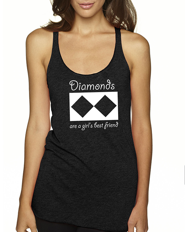 Women's Tri-blend racer-back Diamonds are a Girls Best Friend tank top (Heather White)
