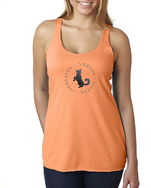 Women's Tri-blend racer-back Up-dog yoga t-shirt (Orange)