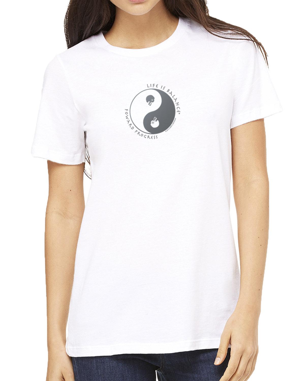 Women's short sleeve football crew neck (white)