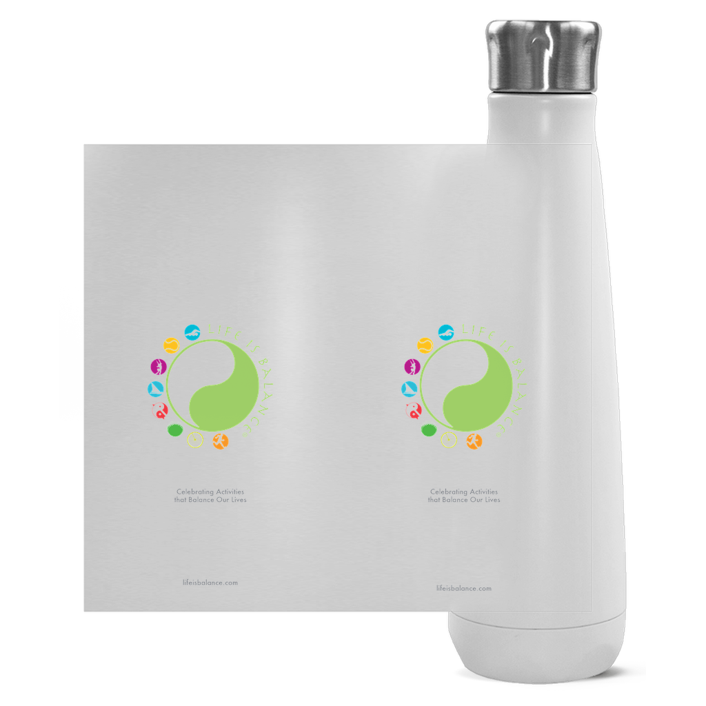 !6 oz Stainless steel water bottle (white)